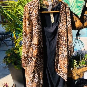 Love Squared 3X Little Black Dress Leopard Kimono